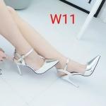 รองเท้าคัทชู ส้นสูง รัดข้อ หนังเมทัลลิคเงาสวยหรู ทรงสวยเพรียว หนังนิ่ม ส้นสูงประมาณ 4.5 นิ้ว ใส่สบาย แมทสวยได้ทุกชุด