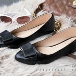 รองเท้าคัทชุ ส้นแบน ดีไซน์โมเดิร์นแต่งโบว์เรียบเก๋ หนังนิ่ม สวมใส่สบาย พื้นยางคุณภาพดีหนาไม่ลื่น ดำ ครีม น้ำเงิน แมทสวยได้ทุกชุด (C44-134)