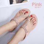 รองเท้าแตะแฟชั่น แบบสวมนิ้วโป้งคาดหน้าเฉียง แต่งอะไหล่ดอกไม้คลิสตัลสวยหรู พื้นนิ่มใส่สบายมาก แมทสวยได้ทุกชุด (B078-1)