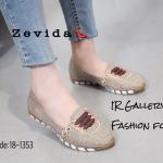 รองเท้าคัทชู ส้นแบน แต่งแถบคาดสีสไตล์กุชชี่สวยเก๋ ส้นยางกันลื่นมีความยืดหยุ่น หนา 1 ซม. หนังนิ่ม ทรงสวย ใส่สบาย แมทสวยได้ทุกชุด (18-1353)