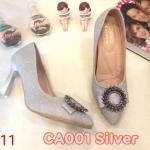 รองเท้าคัทชู ส้นสูง หนังกลิสเตอร์เป็นประกายแต่งอะไหล่สวยหรู หนังนิ่ม ทรงสวย ส้นสูงประมาณ 3 นิ้ว ใส่สบาย แมทสวยได้ทุกชุด (CA001)