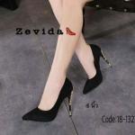 รองเท้าคัทชู ส้นสูง วัสดุกำมะหยี่ ติดอะไหล่ทองที่ส้นรองเท้าสวยหรูไม่ซ้ำใคร เรียบหรูดูดีสุดๆ หนังนิ่ม ใส่สบาย แมทสวยได้ทุกชุด (18-1327)
