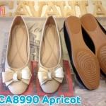 รองเท้าคัทชู ส้นแบน ทรงหัวมนแต่งโบว์สวยหวาน หนังนิ่ม ใส่สบาย ทรงสวย แมทสวยได้ทุกชุด (CA8990)