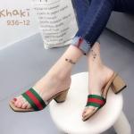 รองเท้าแฟชั่น ส้นสูง แบบสวม แต่งคาดหน้าแถบสีสไตล์กุชชี่ ส้นสูง 2.5 นิ้ว ใส่สบาย แมทสวยได้ทุกชุด (936-12)