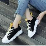 รองเท้าผ้าใบแฟชั่น สไตล์เกาหลี แต่งแถบผ้า 0ff-white สวยเก๋ วัสดุอย่างดี ทรงสวย ใส่สบาย ใส่เที่ยว ออกกำลังกาย แมทสวยเท่ห์ได้ทุกชุด