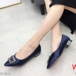รองเท้าคัทชู ส้นเตี้ย แต่งอะไหล่สวยหรูสไตล์แบรนด์ ส้นเคลือบเงา ทรงสวย หนังนิ่ม ใส่สบาย ส้นสูงประมาณ 1 นิ้ว แมทสวยได้ทุกชุด (K9313)
