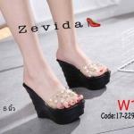 รองเท้าแฟชั่น ส้นเตารีด แบบสวม สายคาดหน้าพลาสติกใสนิ่มแต่งมุกและหมุดทองสวยหรู ทรงสวย ส้นสูงประมาณ 5 นิ้ว เสริมหน้า 2 นิ้ว ใส่สบาย แมทสวยได้ทุกชุด (17-2299)