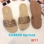 รองเท้าแตะแฟชั่น แบบสวม แต่งอะไหล่สวยหรู หนังนิ่ม พื้นนิ้ม ทรงสวย ใส่สบาย แมทสวยได้ทุกชุด (CA9509)