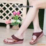 รองเท้าแฟชั่น ส้นเตารีด แบบสวมนิ้วโป้ง ดีไซน์เก๋ ทรงสวย ใส่สบาย แมทสวยได้ทุกชุด (Pf2112)