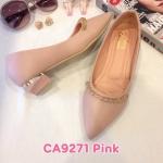 รองเท้าคัทชู ส้นเตี้ย แต่งอะไหล่สวยหรู ทรงสวย ส้นสูงประมาณ 1 นิ้ว ใส่สบาย แมทสวยได้ทุกชุด (CA9271)