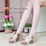 รองเท้าแฟชั่น ส้นเตารีด แบบสวม คาด 2 ตอน สวยเรียบเก๋ ทรงสวย ใส่สบาย แมทสวยได้ทุกชุด (M1795)