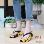 รองเท้าแฟชั่น ส้นมัฟฟิน แบบหนีบ แต่งดอกไม้สวยสดใส รับซัมเมอร์ หนังนิ่ม ทรงสวย ใส่สบาย แมทสวยได้ทุกชุด (M1875)