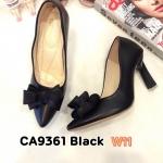 รองเท้าคัทชู ส้นสูง แต่งโบว์สวยหรู ส้นเหลี่ยมเก๋ หนังนิ่ม พื้นนิ่ม ส้นสูงประมาณ 4 นิ้ว ใส่สบาย แมทสวยได้ทุกชุด (CA9361)