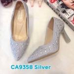 รองเท้าคัทชู ส้นสูง แต่งคลิสตัลรอบตัวสวยหรู ส้นเหลี่ยมเก๋ ทรงสวย หนังนิ่ม ส้นสูงประมาณ 3 นิ้ว ใส่สบาย แมทสวยได้ทุกชุด (CA9358)