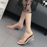 รองเท้าแฟชั่น ส้นสูง แบบสวม ส้นใสอินเทรนด์ คาดหน้าพลาสติกใสนิ่ม ส้นสูง 3 นิ้ว กำลังดีใส่สบาย กระชับเท้า ทรงสวย แมทสวยได้ทุกชุด