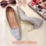 รองเท้าคัทชู ส้นสูง ทรงหัวแหลม แต่งคลิสตัลรอบตัวสวยหรู หนังนิ่ม ทรงสวย ส้นสูงประมาณ 3 นิ้ว ใส่สบาย แมทสวยได้ทุกชุด (CA9659)