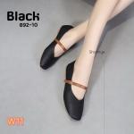 รองเท้าคัทชู ส้นแบน แต่งสายคาดหน้าตัดสีสวยเก๋ หน้านิ่ม พื้นยางนิ่ม เดินสบาย ใส่สบาย แมทสวยได้ทุกชุด (892-10)