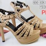 รองเท้าแฟชั่น ส้นสูง รัดส้น แต่งหมุดทั้งตัวสวยหรูดูไฮ ทรงสวยเก็บหน้าเท้า ส้นสูงประมาณ 5 นิ้ว เสริมหน้า แมทสวยได้ทุกชุด (YE90)