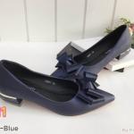 รองเท้าคัทชู ส้นเตี้ย ทรงหัวแหลมแต่งโบว์สวยหรู หนังนิ่ม ใส่สบาย ทรงสวย ส้นแต่งขอบทองเพิ่มความหรู สูงประมาณ 1.5 นิ้ว แมทสวยได้ทุกชุด (K9071)
