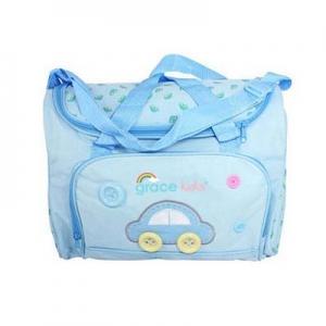 เกรซคิดส์กระเป๋าคุณแม่ลายรถ สีฟ้า ยกลัง(4 ชิ้น)