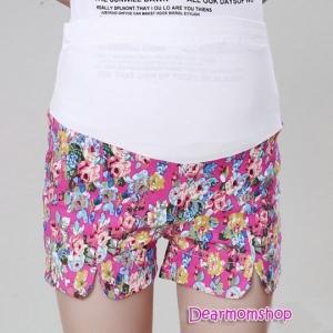 กางเกงคลุมท้องขาสั้นผ้ายืดได้ลายดอกกุหลาบโทนสีชมพูเข้ม