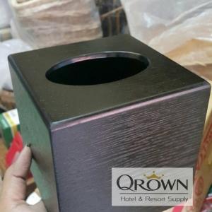 กล่องทิชชูไม้สีดำ กล่องทิชชูลายไม้
