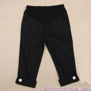 กางเกงคนท้อง 5 ส่วน ปลายขาพับติดกระดุม สีดำ
