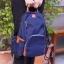 Back pack(กระเป๋าเป้ แฟชั่น สะพายหลัง) BA085 สีน้ำเงิน พร้อมส่ง thumbnail 1