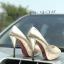 รองเท้าคัทชู ส้นสูง เปิดนิ้ว แต่งส้นเคลือบเงาสวยหรู ทรงสวย หนังนิ่ม ใส่สบาย ส้นสูงประมาณ 5 นิ้ว เสริมหน้า แมทสวยได้ทุกชุด thumbnail 2