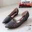 รองเท้าคัทชู ส้นเตารีด หนังกลิสเตอร์แต่งหมุดเพชรสวยหรู ทรงเว้าข้าง หนังนิ่ม งานสวย ใส่สบาย ส้นสูง 1.5 นิ้ว แมทสวยได้ทุกชุด (628-1) thumbnail 2