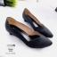 รองเท้าคัทชู ส้นเตี้ย หนังกลิสเตอร์แต่งขอบหยักสวยหรูสไตล์ ZARA หนังนิ่ม งานสวย ใส่สบาย ส้นสูง 1 นิ้ว แมทสวยได้ทุกชุด (3230) thumbnail 2