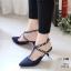 รองเท้าคัทชู ส้นเตี้ย รัดส้น แต่งสายไขว้ข้อเท้าประดับคริสตัลสวยหรู สไตล์ ZARA หนังนิ่ม งานสวย ส้นดีไซน์เก๋ไม่เหมือนใคร ส้น 1 นิ้ว ใส่สบาย แมทสวยได้ทุกชุด (279-15) thumbnail 1