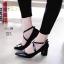 รองเท้าคัทชู ส้นเตี้ย แต่งสวยหน้าไขว้ สวยเก๋ หนังนิ่ม ส้นหนาแบบนี้เดินสบายทั้งวัน สายคาดใส่ยางยืด ส้น 2.5 ทรงสวย ใส่สบาย แมทสวยได้ทุกชุด (129-17) thumbnail 1