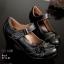 รองเท้าคัทชู ส้นเตี้ย แต่งดอกไม้และตะเข็บรอบสวยคลาสสิค หนังแกะงานหนังแท้ บ่งบอกถึงความหรูหรา นิ่มใส่สบาย งานคุณภาพนำเข้า เก็บรายละเอียดเป็ะมาก สไตล์เพื่อสุขภาพ สูง 2.5 นิ้ว แมทสวยได้ทุกชุด (9212-82) thumbnail 2