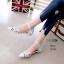 รองเท้าคัทชู ส้นเตี้ย รัดส้น หนังกลิสเตอร์วิ้งแต่งลายฉลุประดับคลิสตัลสวยหรูดูดี หนังนิ่ม ส้นแต่งขอบทอง งานสวย สูง 1 CM ใส่สบาย แมทสวยได้ทุกชุด (10105) thumbnail 2
