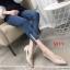 รองเท้าคัทชู ส้นเตี้ย ทรงหัวแหลมแต่งอะไหล่เรียบหรู ส้นเหลียมสวยเก๋ ทรงสวย หนังนิ่ม ใส่สบาย แมทสวยได้ทุกชุด (K9353) thumbnail 3