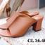 รองเท้าแฟชั่น ส้นสูง แบบสวม แต่งตะเข็บหน้าสวยเรียบเก๋สไตล์แอร์เมส หนังนิ่ม ทรงสวยเก็บหน้าเท้า ใส่สบาย แมทสวยได้ทุกชุด (HT09) thumbnail 1