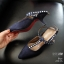 รองเท้าคัทชู ส้นเตี้ย รัดส้น แต่งสายไขว้ข้อเท้าประดับคริสตัลสวยหรู สไตล์ ZARA หนังนิ่ม งานสวย ส้นดีไซน์เก๋ไม่เหมือนใคร ส้น 1 นิ้ว ใส่สบาย แมทสวยได้ทุกชุด (279-15) thumbnail 3