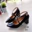 รองเท้าคัทชู ส้นเตี้ย แต่งสวยหน้าไขว้ สวยเก๋ หนังนิ่ม ส้นหนาแบบนี้เดินสบายทั้งวัน สายคาดใส่ยางยืด ส้น 2.5 ทรงสวย ใส่สบาย แมทสวยได้ทุกชุด (129-17) thumbnail 2