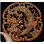 แผ่นไม้แกะศิลปะจีน-หงส์ กับดอกโบตั๋น ทำสี 26.5 cm