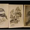 ภาพถ่ายเก่า-เซียนหรือเทพจีน ขนาดโปสการ์ด ชุดสามใบ