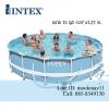 สระน้ำสำเร็จรูป สระน้ำขนาดใหญ่ Intex Prism Frame Pool สระน้ำรุ่นใหม่!! ขนาด 15 ฟุต สีฟ้า + เครื่องกรองระบบไส้กรอง รุ่น 28736