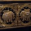 ผ้าปักศิลปะพม่า ลายช้าง งานเก่า