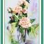 งานปักริบบิ้นรูปแจกันดอกกุหลาบสีหวาน By Easy DIY ครอสติสคริสตัล thumbnail 1