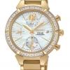 นาฬิกาผู้หญิง Seiko รุ่น SSC864, Solar Chronograph Diamond Gold-Tone