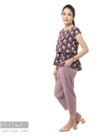 ชุดให้นม Phrimz : Nerine Breastfeeding Top with Tapered Pants - Raisin