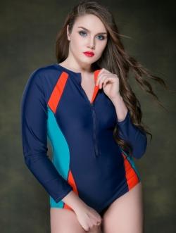 ชุดว่ายน้ำวันพีช ไซส์ใหญ่แบบสปอร์ตพร้อมส่ง :ชุดว่ายน้ำคนอ้วนสีน้ำเงินแต่งสีส้มและเขียวน้ำทะเลแขนยาว ซิปหน้าแบบสวย sexyมากๆจ้า:รอบอก36-44นิ้ว เอว34-44นิ้ว สะโพก38-46นิ้ว