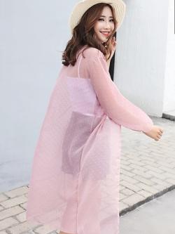 เสื้อคลุมแฟชั่น พร้อมส่ง : เสื้อคลุมสีชมพูแต่งจุดสีสันสดใส แบบสวยมากจ้า