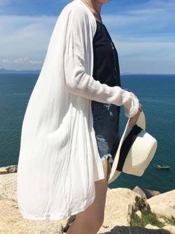 เสื้อคลุมแฟชั่น พร้อมส่ง : เสื้อคลุมสีขาว แบบเก๋มากจ้า