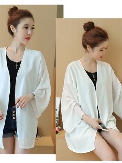 เสื้อคลุมแฟชั่น พร้อมส่ง : เสื้อคลุมสีขาวแบบเรียบๆ สวยมากจ้า